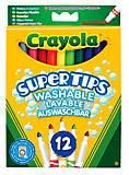 12 тонких фломастеров на водной основе ярких цветов, Crayola (176558), 7509, фото
