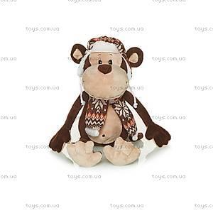 Мягкая обезьянка «Гришка с шарфом и шапкой», MT-TS0215033