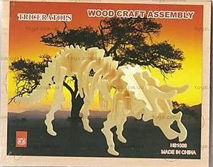 3D пазл из дерева «Трицератопс»,