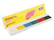 """Акварель 6 цветов медовая """"Малята"""" в картонной упаковке, 100101, купити"""