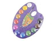 Акварельные краски на палитре, 12 цветов, натуральная кисть (фиолетовая), ZB.6558-07, детские игрушки