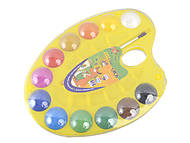 Краски акварельные 12 цветов, натуральная кисть, желтая палитра , ZB.6558-08, игрушки