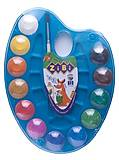 Акварельные краски на палитре 12 цветов, натуральная кисть, синий, ZB.6558-02, цена