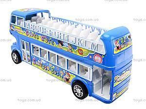 Автобус инерционный двухэтажный, 108-8A, игрушки