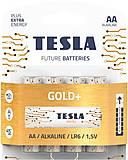 Батарейки TESLA AA GOLD+ (LR06), 4 штуки, AA GOLD+