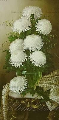 Белые цветы в стеклянной вазе, рисование, MG1066