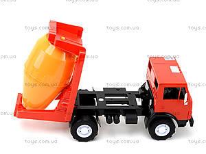 Детская машинка пластмассовая «Бетономешалка», 044, игрушки