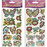 Блестящие наклейки «Бабочки-Цветочки», SG-200