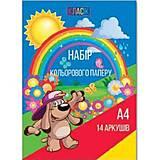 """Бумага цветная односторонняя А4 14 листов """"Классик"""", 10 наборов в упаковке, ТЕ436, детские игрушки"""