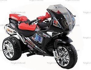 Черный мотоцикл-электомобиль для детей, M-007