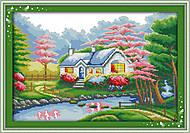 Цветущий сад, вышивка нитками мулине, F182