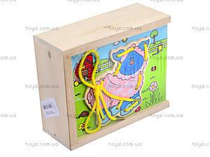 Деревянная игрушка-шнуровка «Ферма», W02-11, фото
