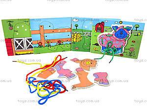 Деревянная игрушка-шнуровка «Ферма», W02-11, отзывы