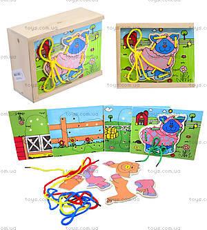 Деревянная игрушка-шнуровка «Ферма», W02-11