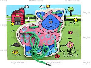 Деревянная игрушка-шнуровка «Ферма», W02-11, игрушки