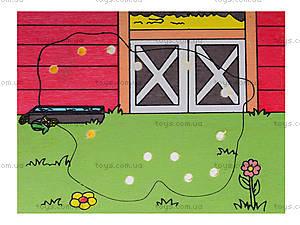 Деревянная игрушка-шнуровка «Ферма», W02-11, детские игрушки