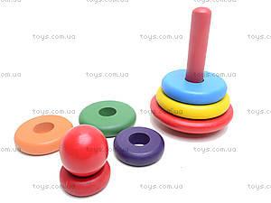 Деревянная цветная пирамидка, 2594-5, игрушки