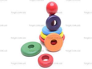 Деревянная цветная пирамидка, 2594-5, детские игрушки