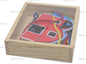 Деревянная детская игра «Шнуровка», 2594-19, детские игрушки