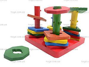 Деревянная детская пирамида «Геометрия», 2594-7, toys.com.ua
