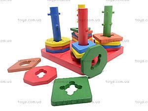 Деревянная детская пирамида «Геометрия», 2594-7, іграшки
