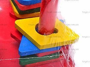 Деревянная детская пирамида «Геометрия», 2594-7, детские игрушки