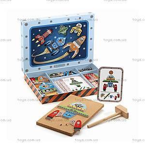 Деревянная игра-аппликация с молоточком «Космодром», DJ06642
