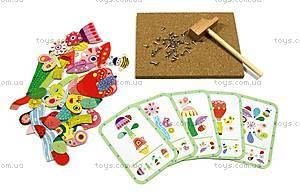 Деревянная игра-аппликация с молоточком «Сад цветов», DJ06643, фото