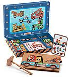 Деревянная игра-аппликация с молоточком «Транспорт», DJ06641, детский