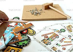 Деревянная игра-аппликация с молоточком «Транспорт», DJ06641, купить