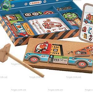 Деревянная игра-аппликация с молоточком «Транспорт», DJ06641, фото