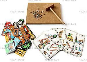Деревянная игра-аппликация с молоточком «Транспорт», DJ06641, детские игрушки
