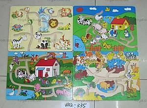 Деревянная игра-лабиринт «Животные», 02-335