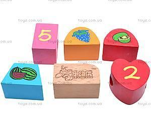 Деревянная игра шнуровка-бусы, W02-4557, цена