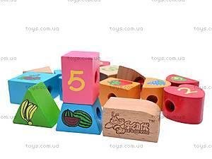 Деревянная игра шнуровка-бусы, W02-4557, детские игрушки