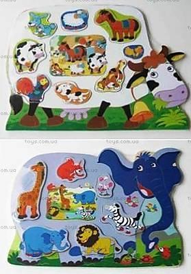 Деревянная игра-вкладыш «Животные», 5310-1/5311-1