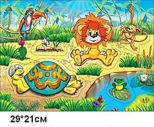 Деревянная игра-вкладыш «Львенок и Черепаха», LION-1148