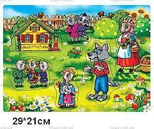 Деревянная игра-вкладыш «Волк и семеро козлят», KZT-1161