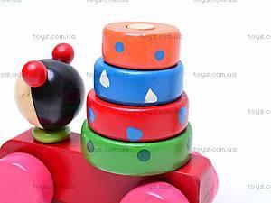 Деревянная каталка-пирамидка, 2594-72, детские игрушки