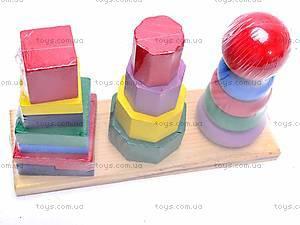Деревянная пирамида геометрическая, 2594-3, детские игрушки
