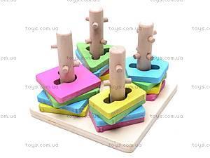 Деревянная пирамида с геометрическими фигурками, W02-3928, купить
