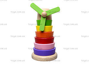 Деревянная пирамидка «Мельница», BT-WT-0096, игрушки