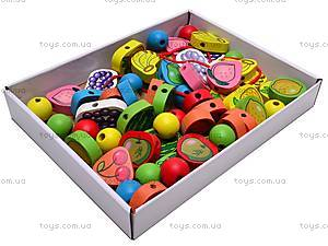 Деревянная шнуровка-бусы, W02-4438, детские игрушки