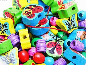 Деревянная шнуровка-бусы «Пчелки», 2594-39, игрушки
