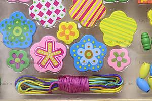 Деревянная шнуровка «Цветы», BT-WT-0060, фото
