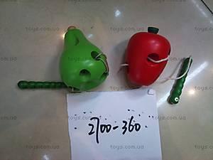 Деревянная шнуровка «Груша и яблоко», 2700-360