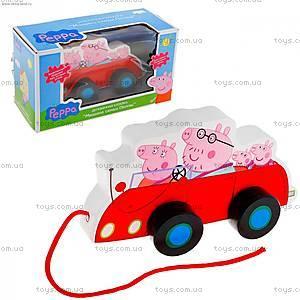 Деревянная игрушка-каталка «Семья Пеппы в машине», 24442