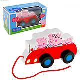 Деревянная игрушка-каталка «Семья Пеппы в машине», 24442, купить