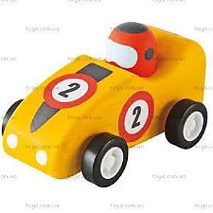 Деревянная игрушка «Машинка Формулы 1», желтая, 82535