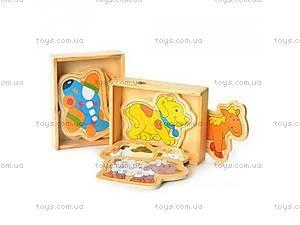 Деревянная игрушка пазлы с животными,